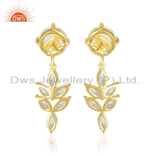 Suppliers 14k Gold Plated Brass Fashion Gemstone Earring Manufacturer of Wedding Jewelry