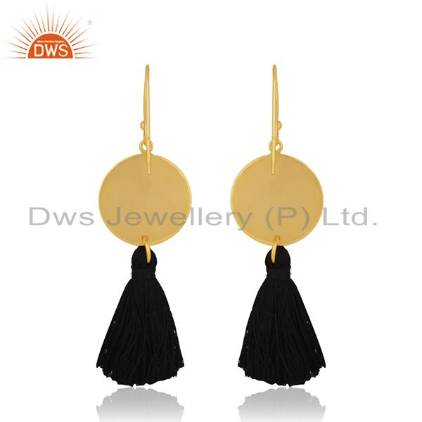Suppliers Handmade Designer Brass Gold Plated Tassel Thread Earrings Manufacturers India