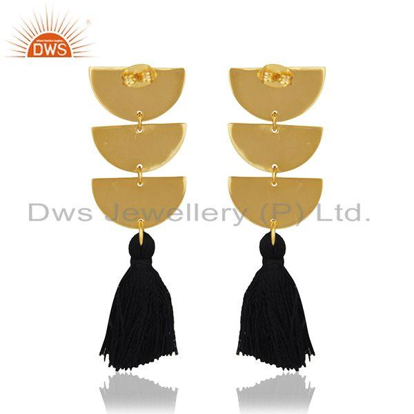 Suppliers 14k Gold Plated Brass Fashion Handmade Black Tassel Black Thread Earring Jewelry