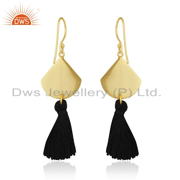 Suppliers Black Thread Gold Plated Brass Fashion Tassel Earrings Manufacturer India