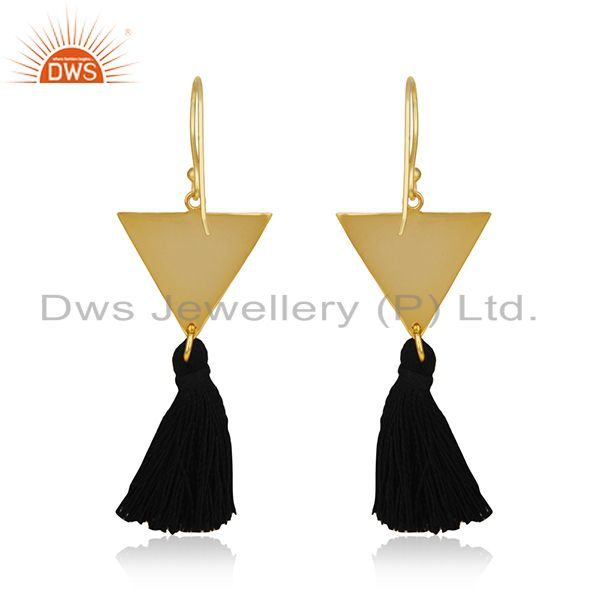 Suppliers 14k Gold Plated Brass Fashion Handmade Black Thread Tassel Earrings Wholesale