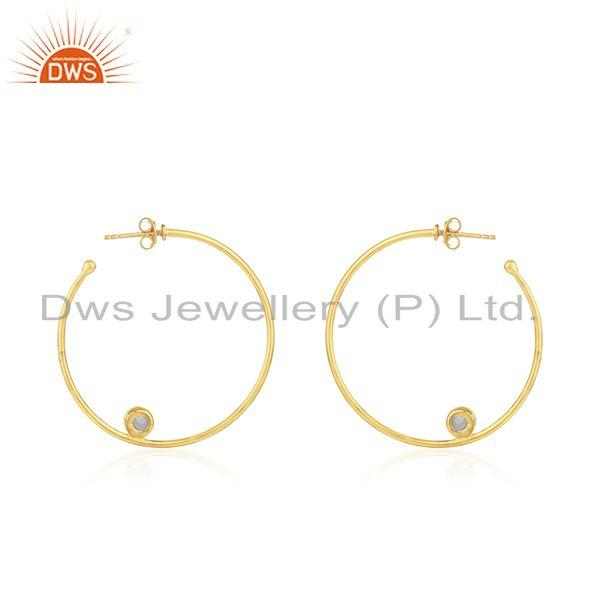 Suppliers Natural Pearl Gemstone Silver Gold Plated Hoop Earring Jewelry