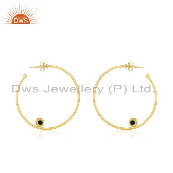 Suppliers Black Onyx Gemstone Silver Gold Plated Hoop Earring Jewelry