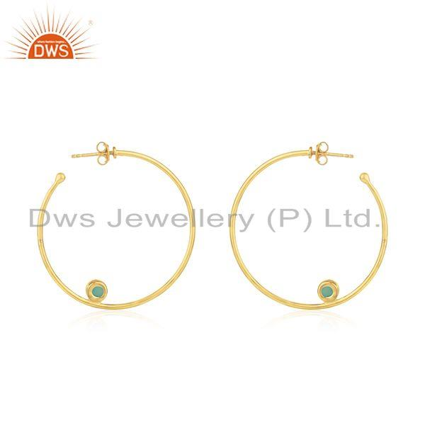 Suppliers Gold Plated 925 SIlver Green Onyx Gemstone Hoop Earring Jewelry Supplier