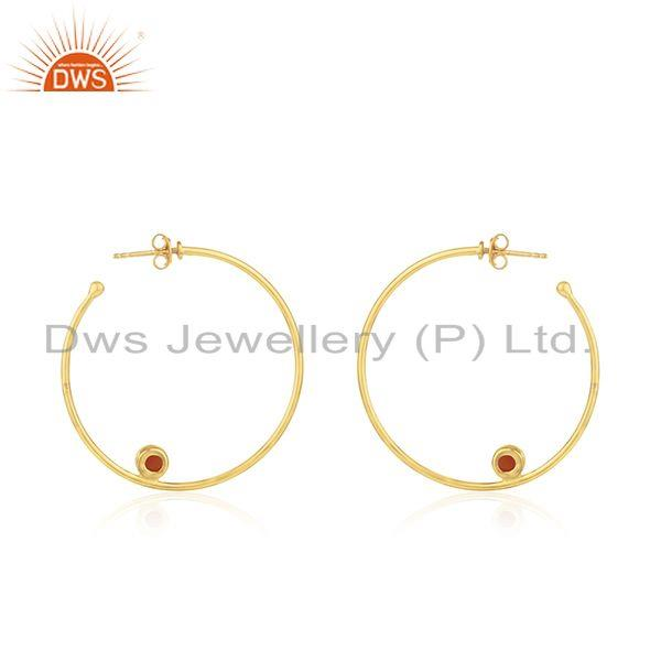 Suppliers Wholesale Gold Plated Silver Red Onyx Gemstone Earring Jewelry