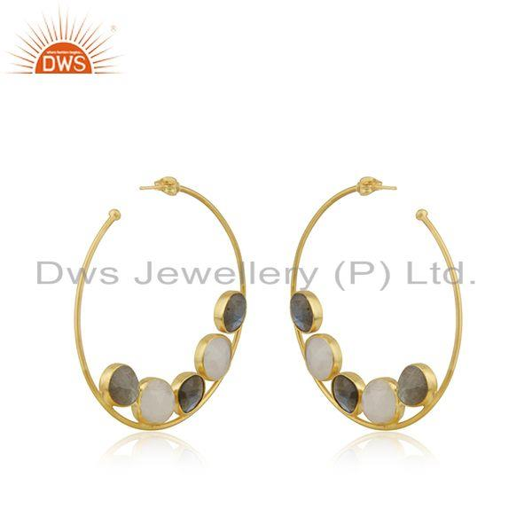 Suppliers Multi Gemstone 14k Gold Plated Brass Fashion Hoop Round Earrings Wholesaler