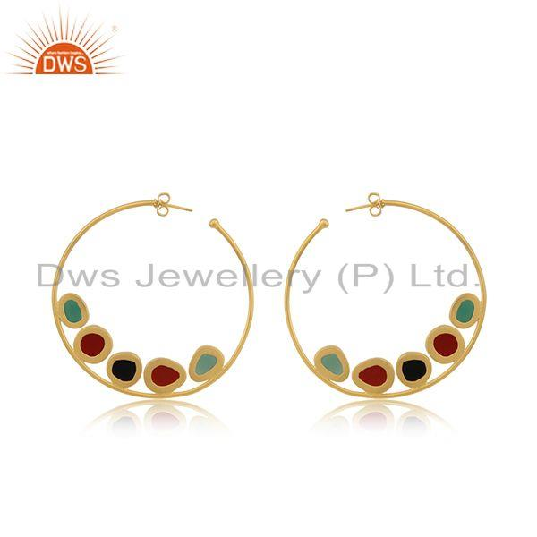 Suppliers Black and Red Onyx Gemstone Gold Plated Brass Fashion Hoop Earrings Wholesaler