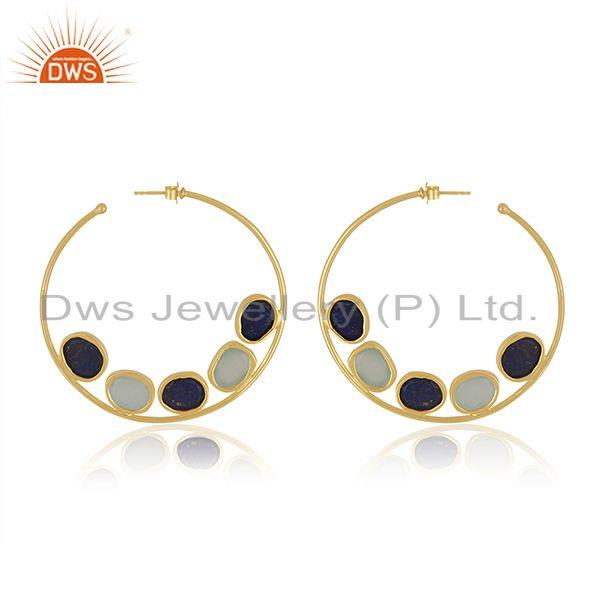 Suppliers Lapis Aqua Chalcedony Silver Gold Plated Hoop Earrings
