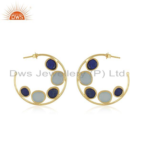 Suppliers Chalcedony Lapis Gemstone Gold Plated Silver Hoop Earring Supplier