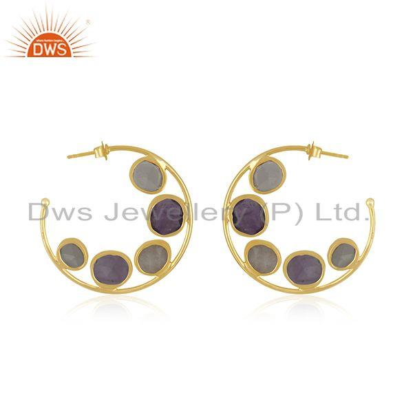 Suppliers Rainbow Moonstone Amethyst Gemstone Hoop Earring Jewelry Supplier