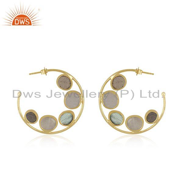 Suppliers Moonstone Labradorite Gemstone Designer Hoop Earring Jewelry