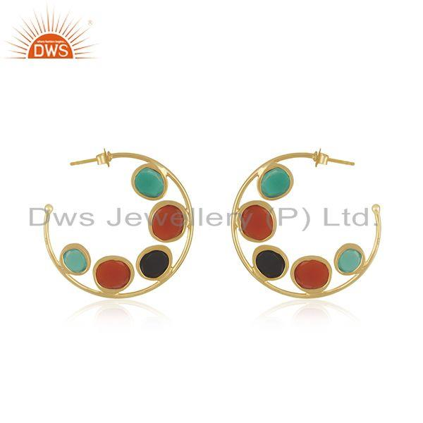 Suppliers Natural Onyx Gemstone Silver Hoop Earring Jewelry