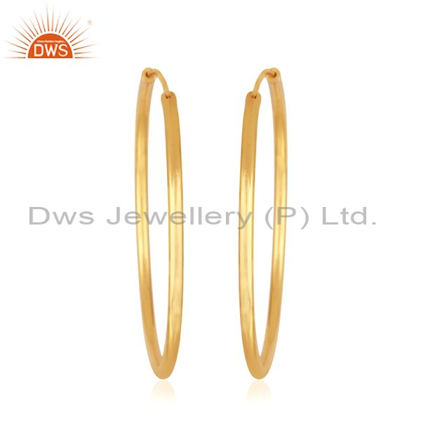 Suppliers 14k Yellow Gold Plated Handmade Brass Fashion Simple Hoop Earrings Manufacturer