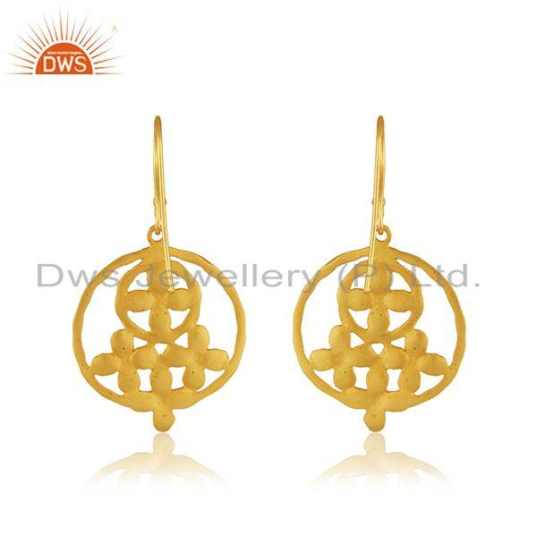 Suppliers White Zircon 18k Yellow Gold Plated Brass Fashion Designer Earrings Manufacturer