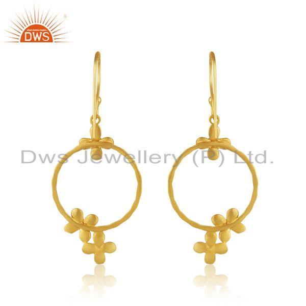 Suppliers White Zircon Gold Plated Brass Fashion Designer Earrings Manufacturer India