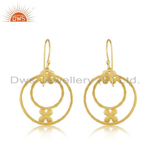 Suppliers Handmade Brass Fashion Gold Plated Designer Fashion Earrings Wholesaler India