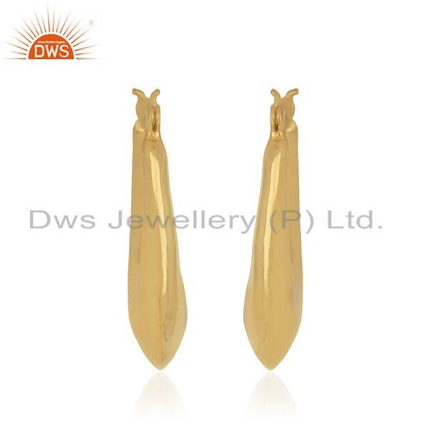 Suppliers Designer Gold Plated Brass Chand Bali Hoop Earrings Jewelry