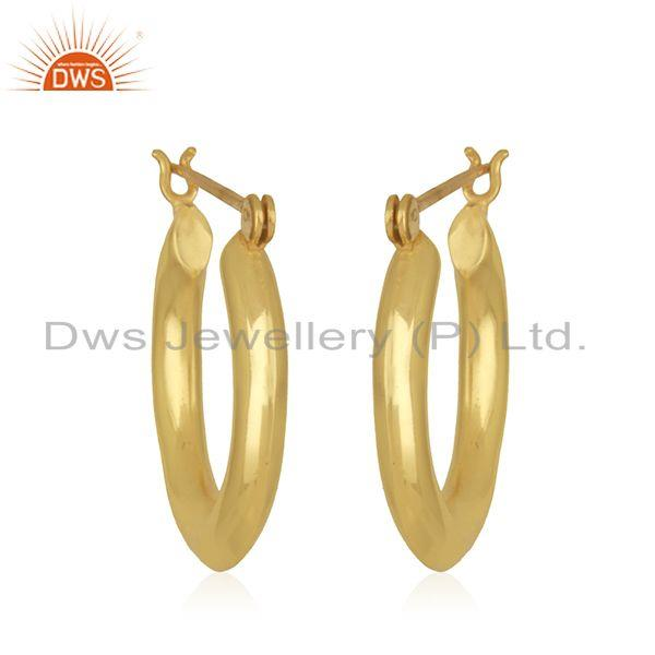 Suppliers Handmade Designer Gold Plated Brass Bali Hoop Earrings Jewelry