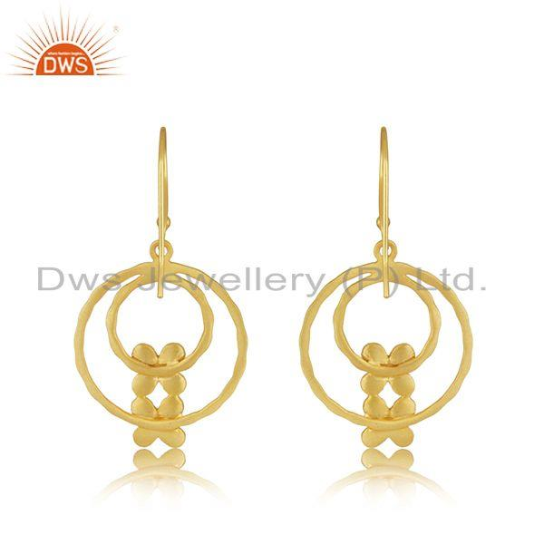 Suppliers Designer Brass Gold Plated Fashion White Zircon Earrings Manufacturer Jaipur