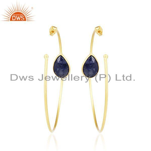 Suppliers Handmade Yellow Gold Plated Lapis Gemstone Designer Hoop Earrings