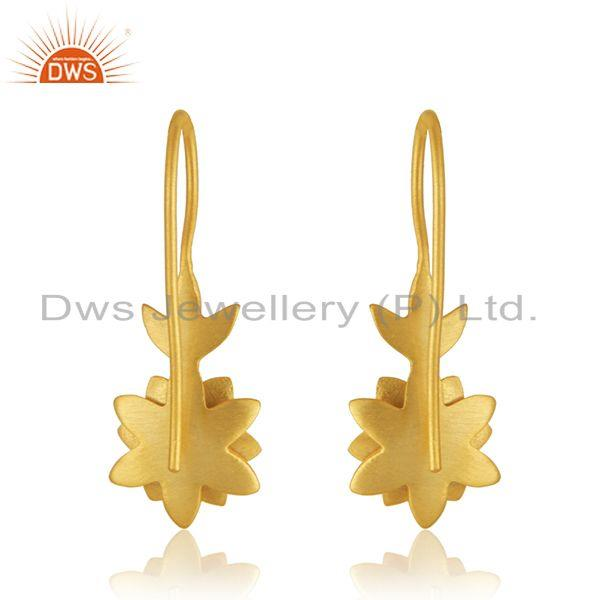 Suppliers Designer Yellow Gold Plated Brass White Zircon Fashion Earrings Manufacturer