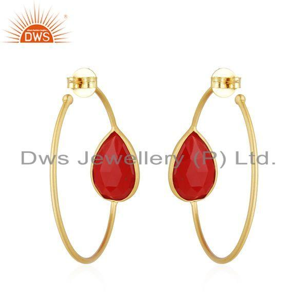 Suppliers Coral Gemstone Designer Gold Plated Brass Fashion Hoop Earring Jewelry