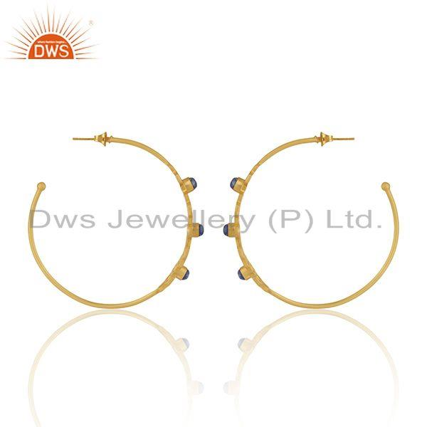 Suppliers Lapis Lazuli Gemstone Gold Plated Brass Fashion Designer Hoop Earrings Supplier