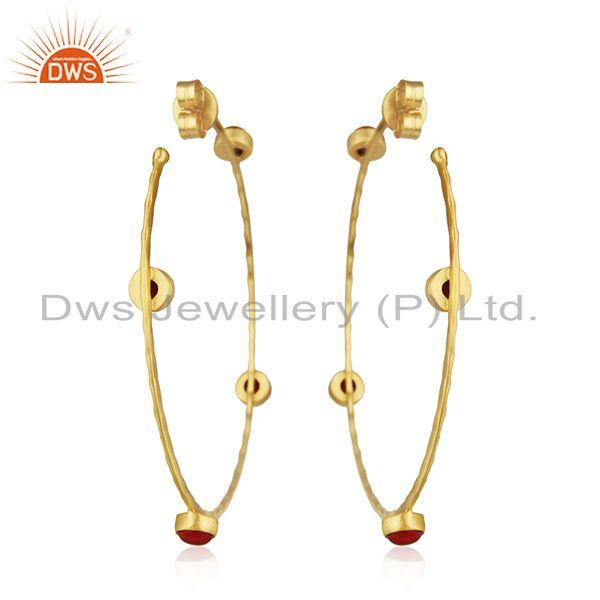 Suppliers Handmade Gold Plated Brass Fashion Gemstone Hoop Earring Wholesale