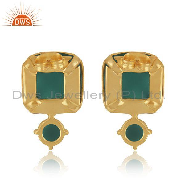 Suppliers Designer Yellow Gold Plated Brass Fashion Green Onyx Gemstone Drop Earrings