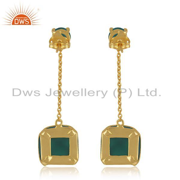 Suppliers Designer Brass Gold Plated Green Onyx Gemstone Chain Earrings Manufacturer India