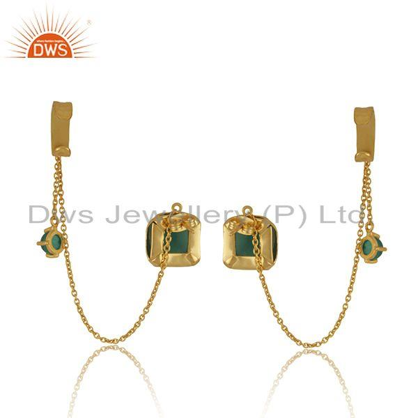 Suppliers Green Onyx Gemstone Yellow Gold Plated Brass Fashion Cuff Earrings Wholesale