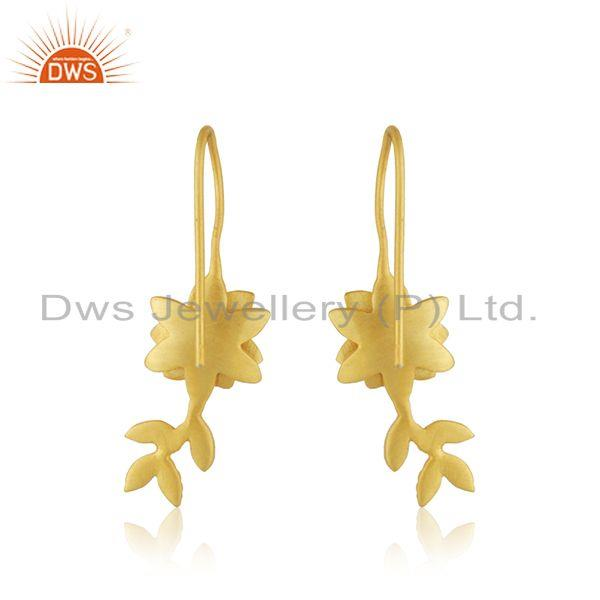 Suppliers White Zircon Yellow Gold Plated Brass Fashion Designer Earrings WHolesale India