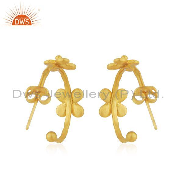 Suppliers Flower Yellow Gold Plated Brass Designer Fashion Earring Jewelry Supplier
