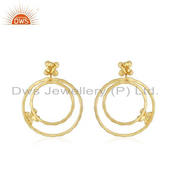 Suppliers Manufacturer Gold Plated Brass Handmade Fashion Earrings Jewelry