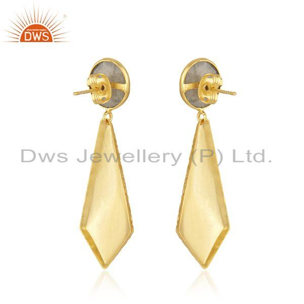 Suppliers 18k Gold Plated Texture Brass Labradorite Gemstone Earrings Jewelry