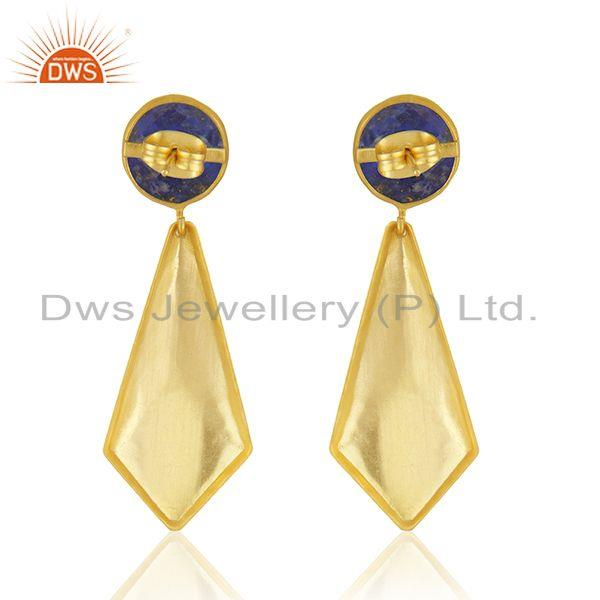Suppliers Lapis Gemstone New Arrival Gold Plated Brass Fashion Earrings Jewelry Supplier