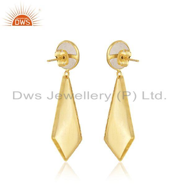 Suppliers Rainbow Moonstone Texture Brass Designer Fashion Earrings Jewelry