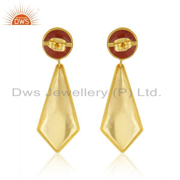 Suppliers Red Onyx Gemstone 18k Gold Plated Brass Fashion Earrings Jewelry