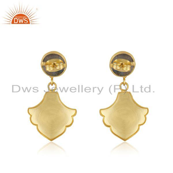Suppliers Labradorite Gemstone Designer Yellow Gold Plated Fashion Earrings Jewelry