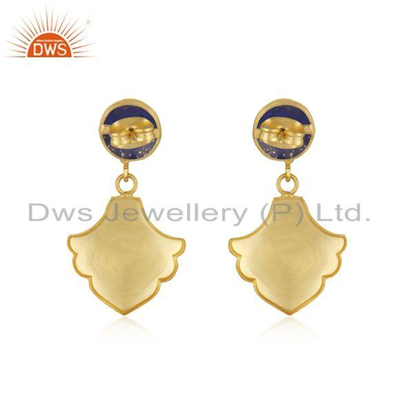 Suppliers New Arrival 18k Gold Plated Brass Lapis Gemstone Fashion Earrings Jewelry