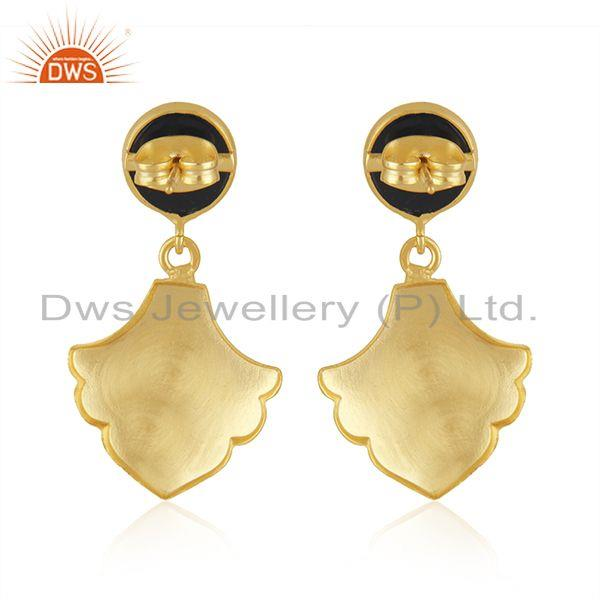 Suppliers Wholesale BLack Onyx Gemstone Gold Plated Brass Fashion Earrings Jewelry