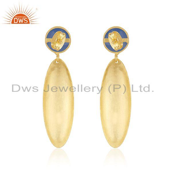 Suppliers Designer Texture Gold Plated Brass Blue Chalcedony Gemstone Fahsion Earrings