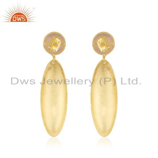 Suppliers Handmade Texture Gold Plated Brass Rose Chalcedony Gemstone Earrings Jewelry