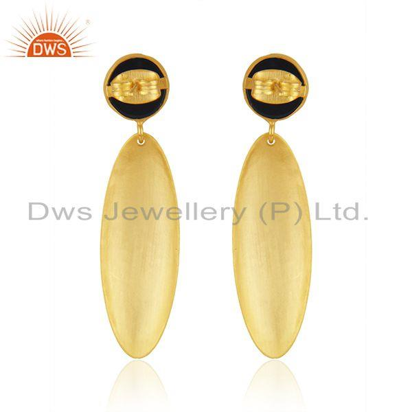 Suppliers Indian Black Onyx Gemstone Textured Gold Plated Brass Handmade Fashion Earrings
