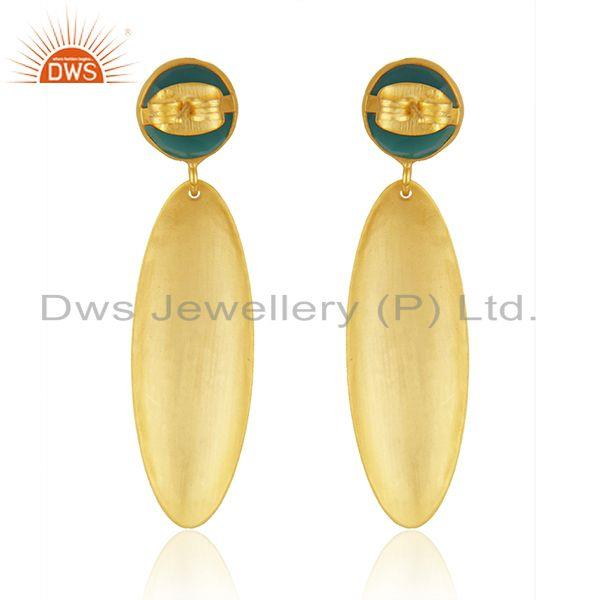 Suppliers Handmade Texture Gold Plated Brass Green Onyx Gemstone Fashion Earrings Jewelry
