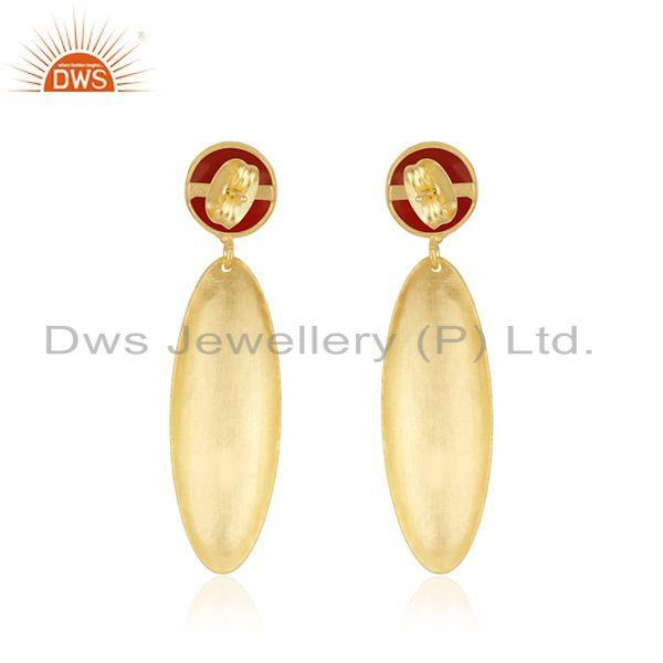 Suppliers Indian Gold Plated Brass Textured Red Onyx Gemstone Fashion Earrings Jewelry