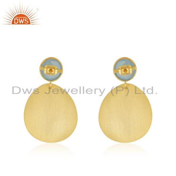 Suppliers Handmade Gold Plated Brass Fashion Gemstone Dangle Earrings Wholesale Supplier