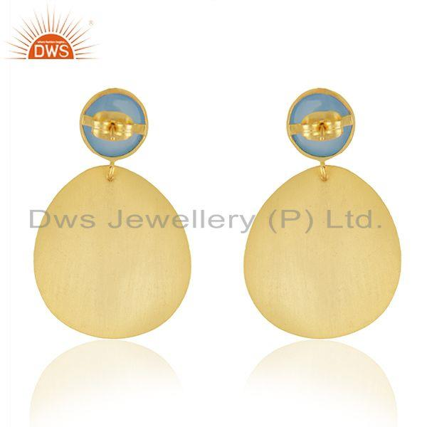 Suppliers Manufacturer Designer Gold Plated Brass Blue Chalcedony Gemstone Fashion Earring
