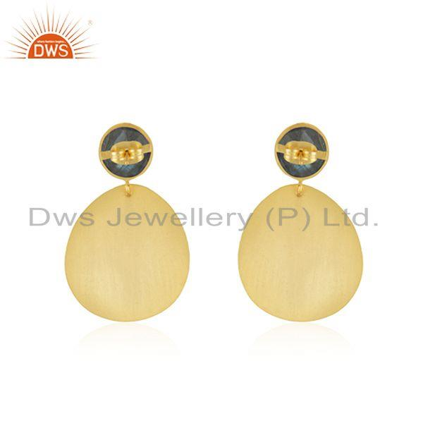 Suppliers Labradorite Gemstone Gold Plated Brass Fashion Girls Earrings Jewelry Wholesaler