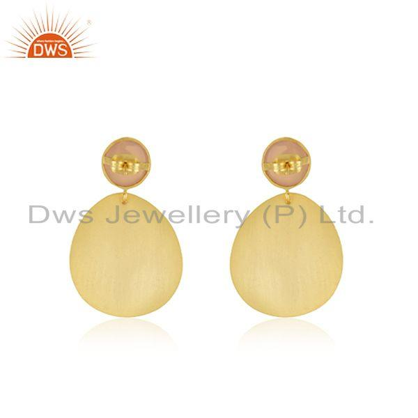 Suppliers Indian Handmade Brass Yellow Gold Plated Fashion Gemstone Earrings for Girls